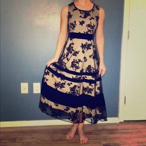 Taylor Black/Nude Velvet Lace Dress